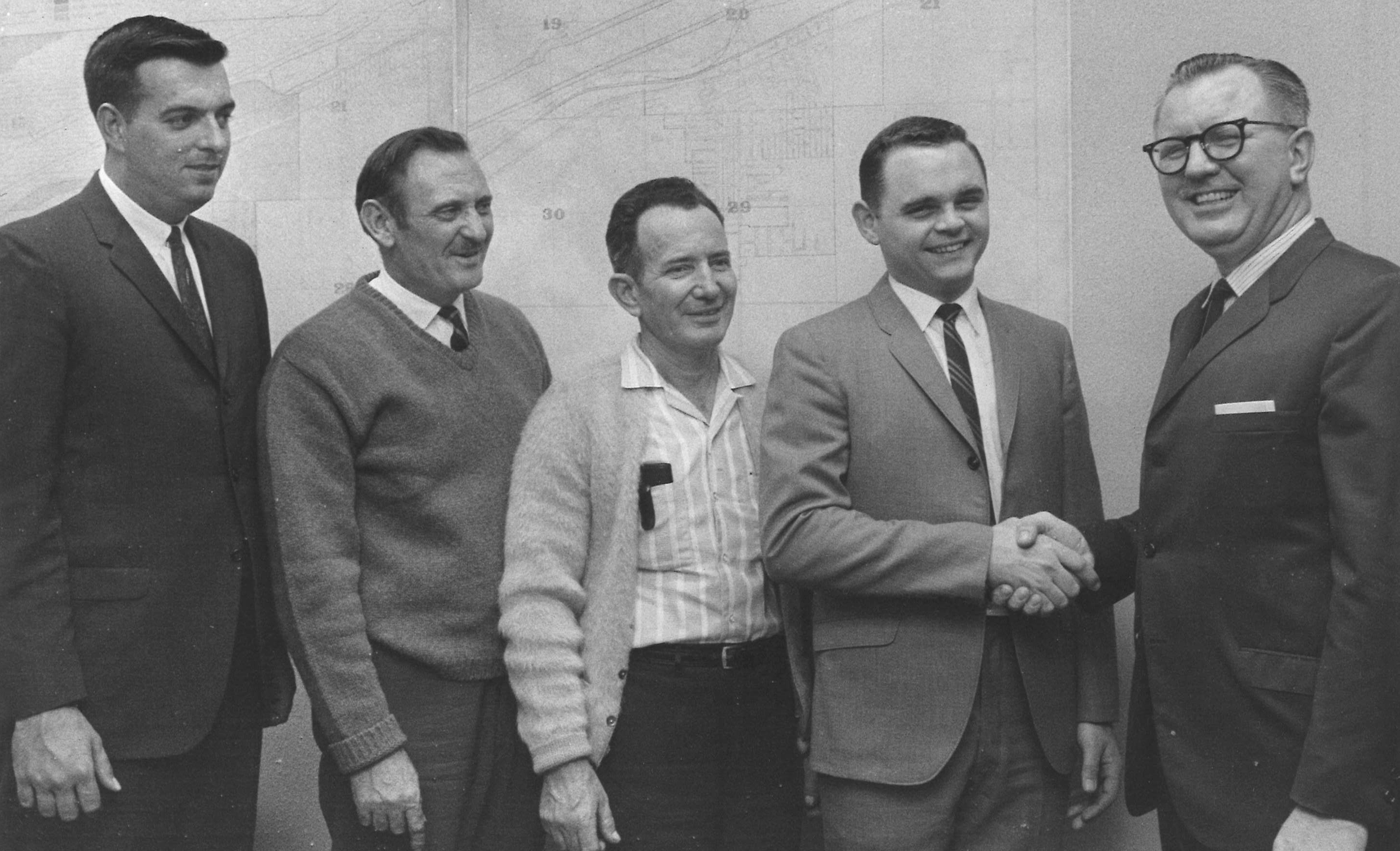 The original Lemont Park District Board with Founder Lewis Ruppert in April 1966. From left to right, Ronald Weber, Norbert Kluga, Rudy Gotlund, Phil Smith and Lewis Ruppert (Norbert Lesnieski not pictured)